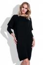 Czarna Sukienka Sweter z Rękawem Kimono