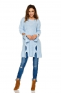 Dłuższy Błękitny Sweter z Owalnymi Wycięciami