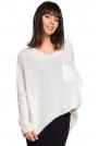 Ecru Asymetryczny Oversizowy Sweter z Kieszonką