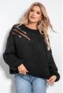 Czarny Luźny Sweter o Grubym Splocie