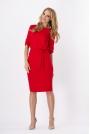 Czerwona Kobieca Sukienka Midi z Podpinanym Rękawem z Paskiem