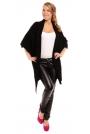Czarny Sweter - Narzutka z Dużymi Kieszeniami