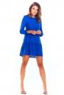 Niebieska Trapezowa Sukienka z Doszytą Falbanką
