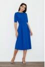 Niebieska Sukienka Elegancka Wizytowa Midi