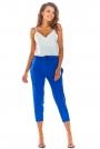 Niebieskie Stylowe Spodnie z Troczkami
