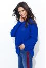 Chabrowy Ażurowy Sweter Oversize z Warkoczami