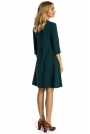 Zielona Sukienka Trapezowa z Kontrafałdą