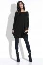 Czarny Długi Sweter Bombka z Kieszeniami