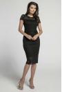 Czarna Koronkowa Ołówkowa Sukienka Midi z Dekoltem V na Plecach