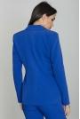 Niebieski Żakiet Elegancki Taliowany na Jeden Guzik