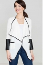 Biały Sweter bez Zapięcia z Dodatkiem Eko-skóry