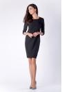 Wizytowa Krótka Czarna Sukienka z Zakładką na Przodzie