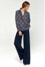 Kwiatowa Koszulowa Bluzka z Asymetryczną Falbanką