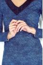 Jasno Niebieska Krótka Dopasowana Sukienka z Dekoltem w Serek