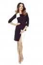 Czarna Sukienka Wizytowa z Asymetrycznym Rozcięciem