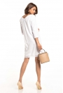Biała Sukienka o Kroju Litery A z Koronką