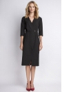 Czarna Elegancka Sukienka Midi z Kopertowym Dekoltem