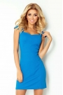 Niebieska Sukienka z Przeszyciami z Mini Rękawkiem
