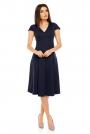 Granatowa Elegancka Rozkloszowana Sukienka z Mini Rękawkiem