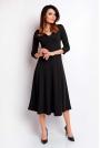 Czarna Elegancka Rozkloszowana Sukienka z Dekoltem V