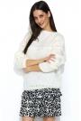 Ecru Oversizowy Sweter z Ażurowym Rękawem