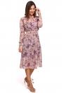 Łososiowa Szyfonowa Sukienka w Kwiaty z Długim Rękawem