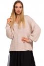 Pudrowy Sweter Oversize z Dekoltem w Serek z Połyskującej Przędzy