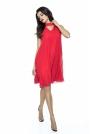 Czerwona Trapezowa Sukienka Koktajlowa z Chokerem