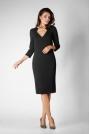 Czarna Dopasowana Sukienka Wizytowa z Trójkątnym Wycięciem przy Dekolcie