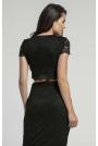 Czarna Elegancka Krótka Koronkowa Bluzka