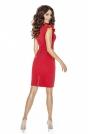 Czerwona Sukienka Mini z Falbaną i Motylkowym Rękawkiem