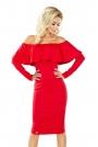 Czerwona Sukienka Midi z Dekoltem Carmen