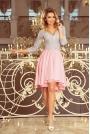 Szaro Różowa Wieczorowa Asymetryczna Sukienka z Koronką