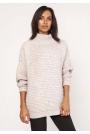 Beżowy Ciepły Oversizowy Sweter z Golfem
