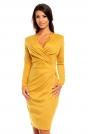 Żółta Elegancka Dzianinowa Sukienka z Kopertową Górą z Długim Rękawem