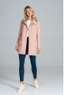 Pikowany Krótki Płaszcz z Paskiem - Różowy