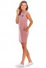 Różowa Dzianinowa Mini Sukienka z Kieszeniami
