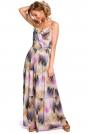 Wzorzysta Maxi Sukienka na Cienkich Ramiączkach - Model 1