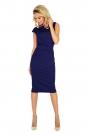 Ciemno Niebieska Sukienka Elegancka Midi z Zaznaczoną Talią