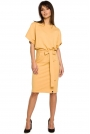 Żółta Sukienka Przewiązana Paskiem z Nietoperzowym Krótkim Rękawem