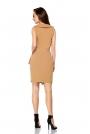 Kamelowa Kopertowa Asymetryczna Sukienka Wiązana w Tali