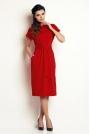 Czerwona Prosta Midi Sukienka z Wiązanym Paskiem