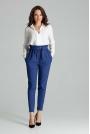 Szafirowe Klasyczne Spodnie Marszczone w Talii z Paskiem