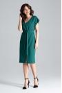 Zielona Sukienka w Serek z Krótkim Rękawem Przewiązana Paskiem