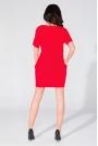 Prosta Dzianinowa Czerwona Sukienka z Kieszeniami po Bokach