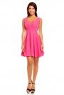 Różowa Zmysłowa Sukienka z Kopertowym Dekoltem na Szerokich Ramiączkach