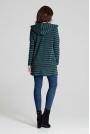 Zielony Niezapinany Sweter w Paski z Kapturem