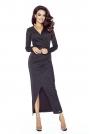 Czarna Połysk Sukienka Długa Kopertowa z Dekoracyjnym Marszczeniem