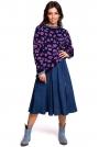 Fioletowy Oversizowy Sweter w Lamparcie Cętki