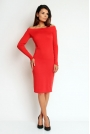 Czerwona Prosta Midi Sukienka z Dekoltem  w Łódkę z Długim Rękawem